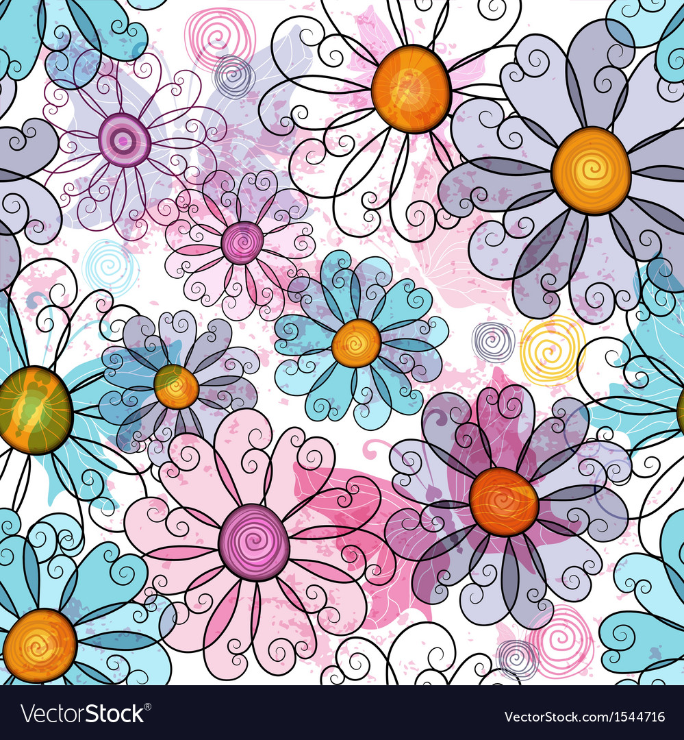 Seamless spring grunge spotty floral pattern vector