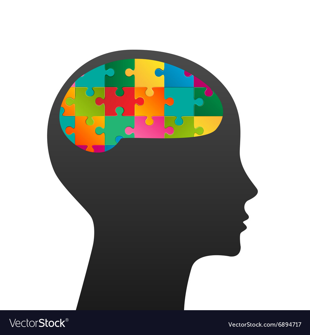 Human head made of puzzle vector