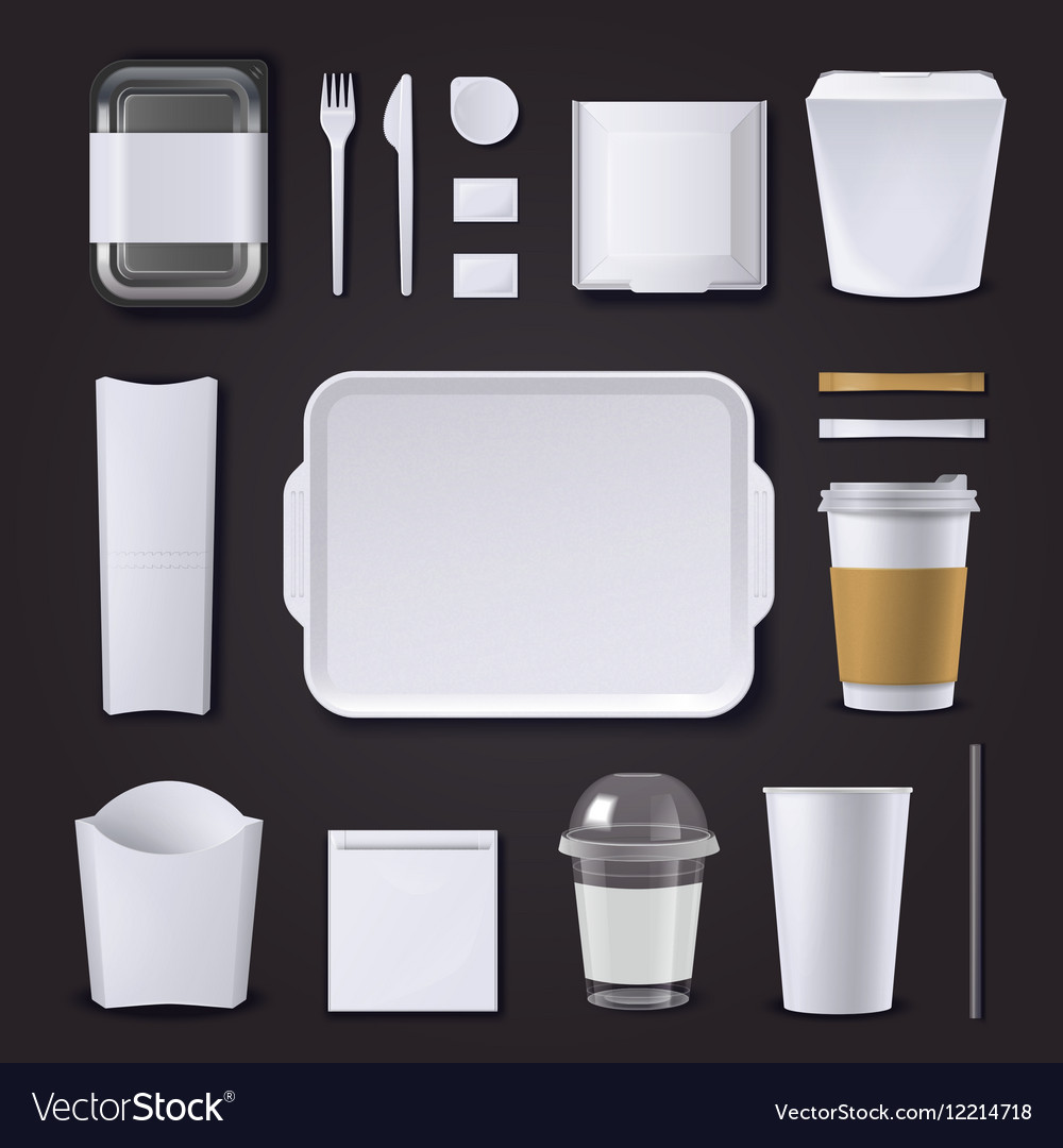 Burger bar packaging realistic set vector