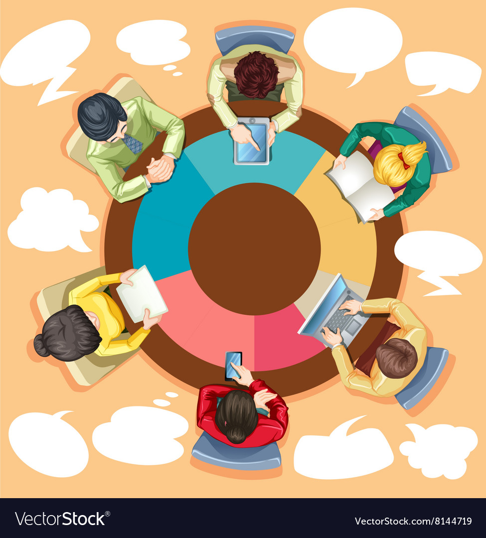 Business people working on the round table vector