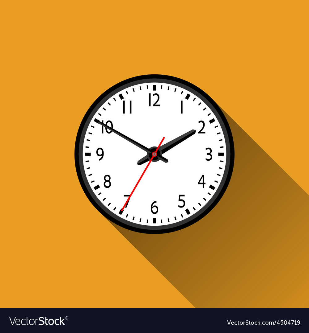 School clock flat icon with long shadow vector