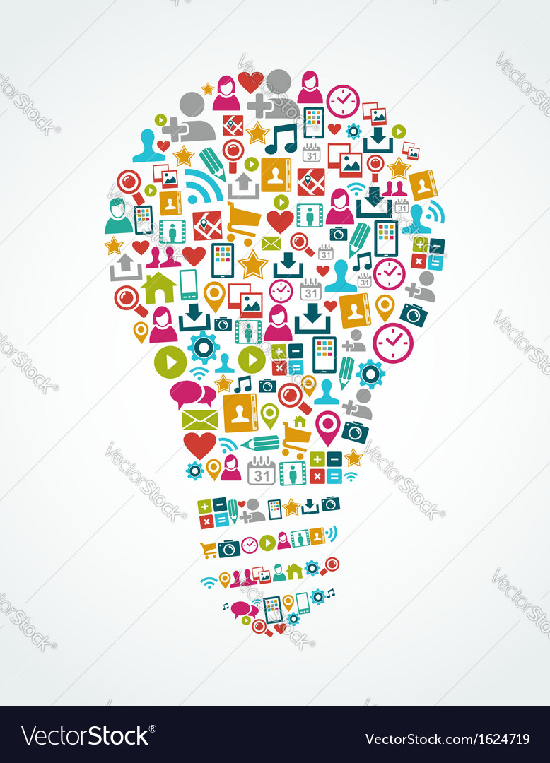 Social media icons isolated idea light bulb eps10 vector