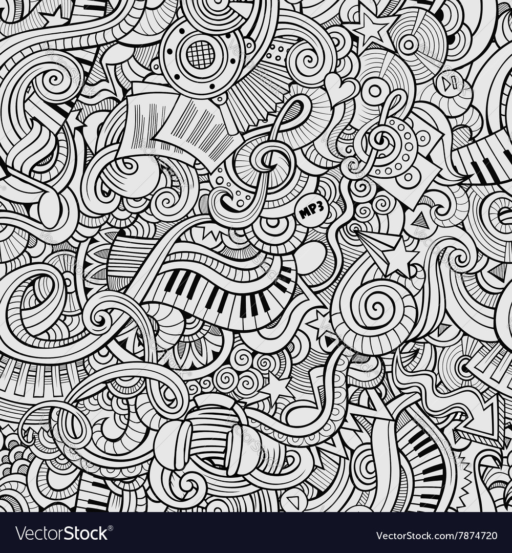 Cartoon handdrawn doodles music seamless pattern vector