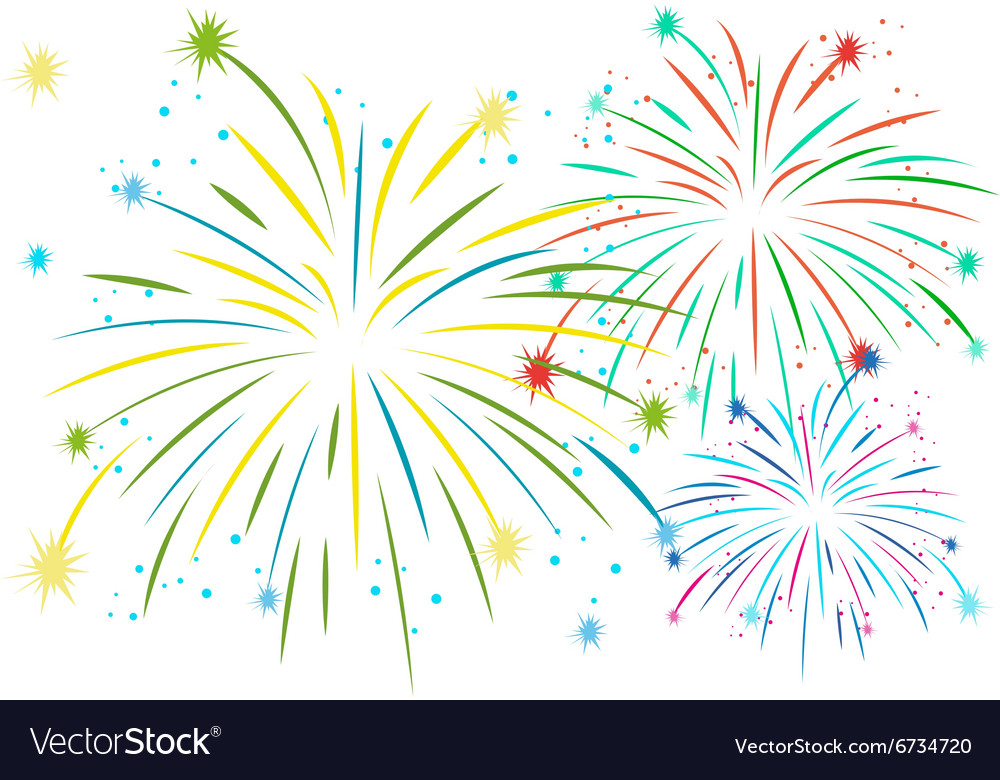 Firework in many colors vector