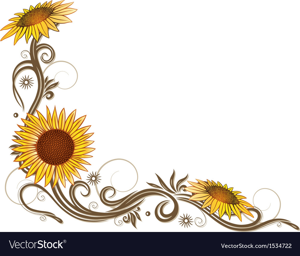 Flowers floral elements border vector