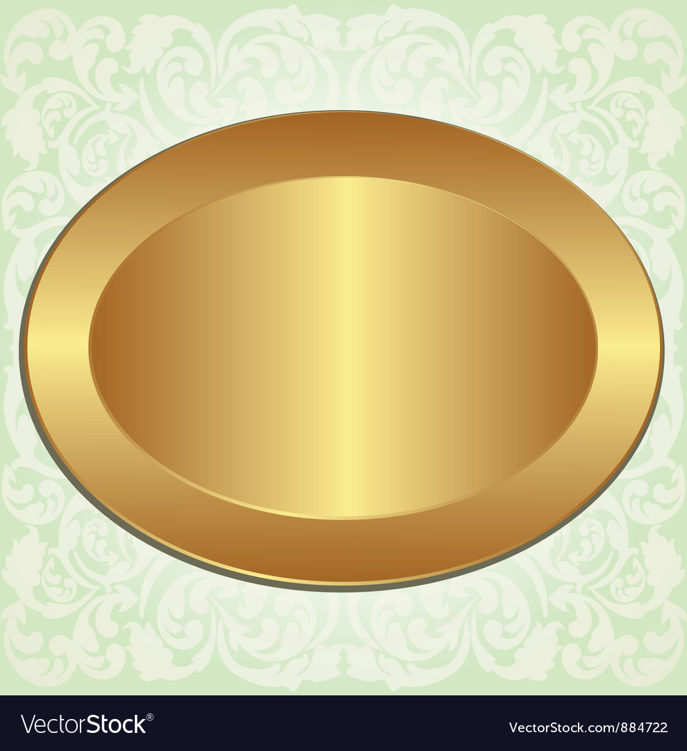 Gold oval with ornaments vector