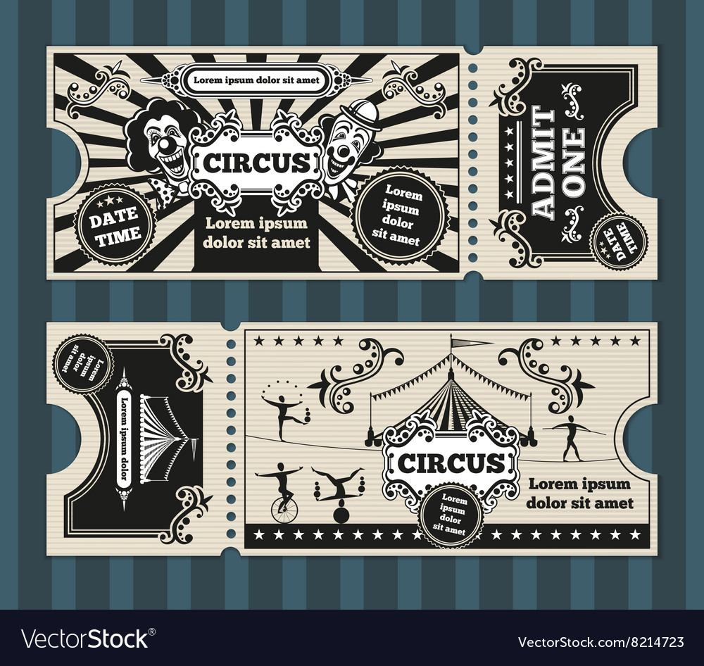 Birthday card with circus tickets template vector