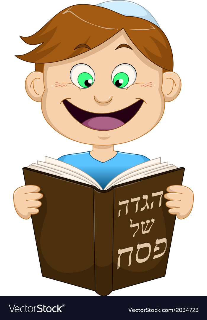 Boy reading from haggadah for passover vector