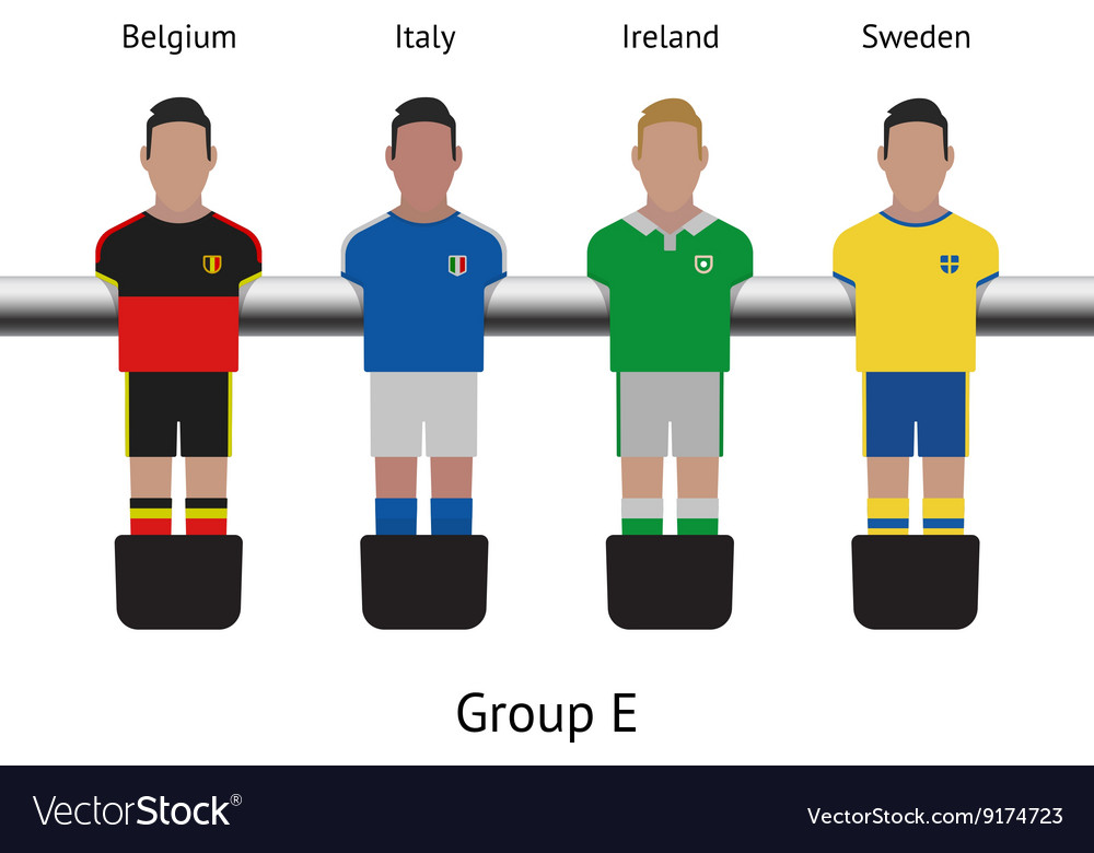 Table football game foosball soccer player set vector