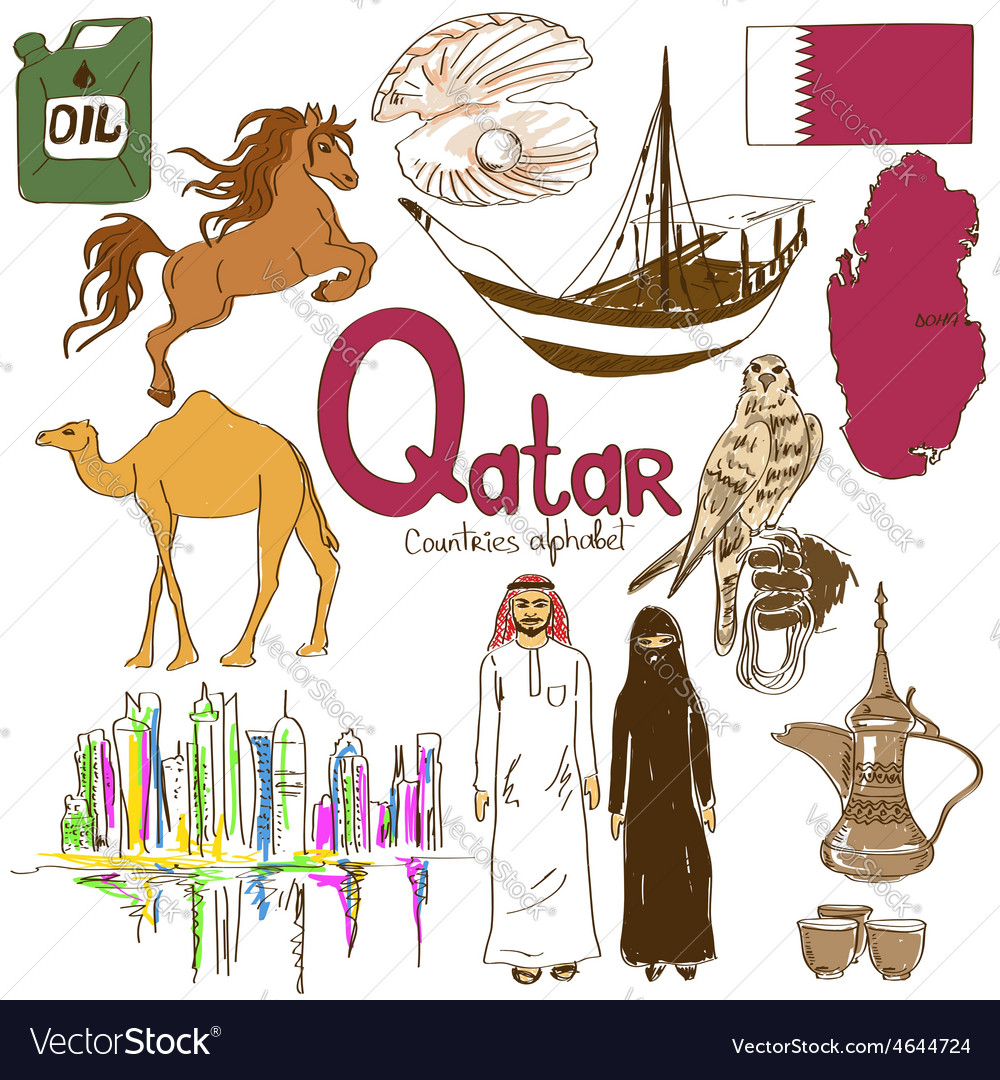 Collection of qatar icons vector