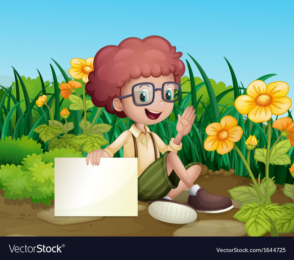 A smiling young boy near the flowers holding an vector