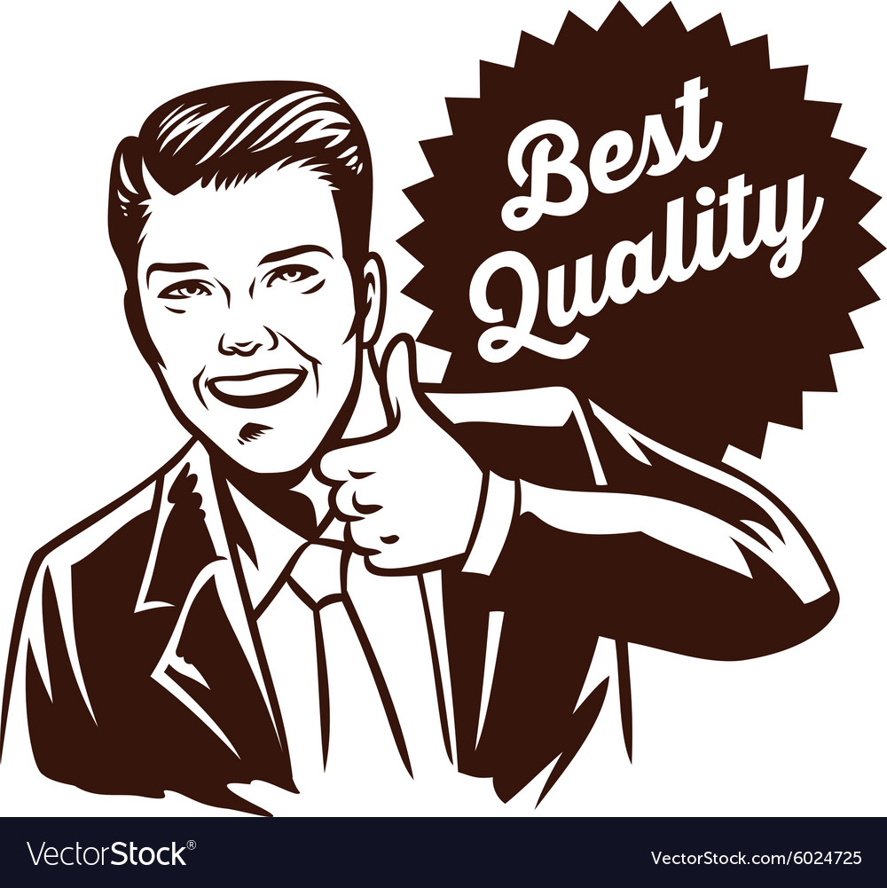 Retro thumb up man vector