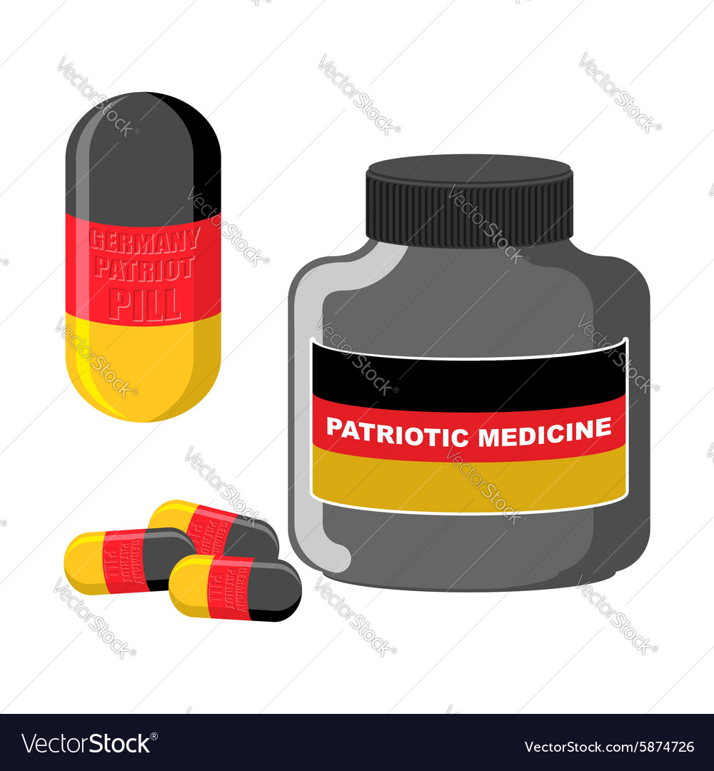 Patriotic medicine germany pills with a german vector