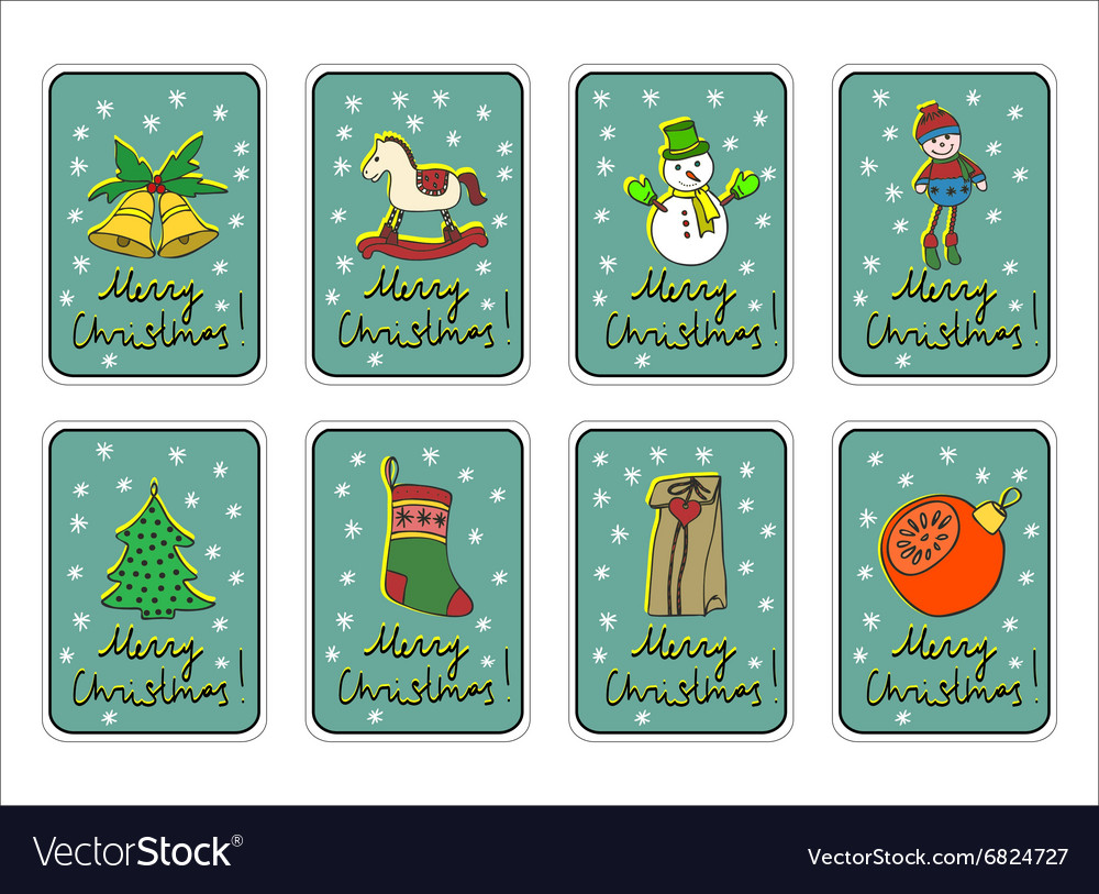 Christmas merry holidays new year greeting card vector