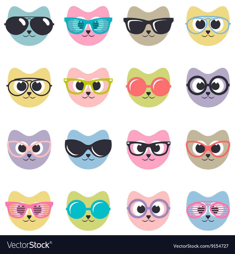 Set of cats with sunglasses vector