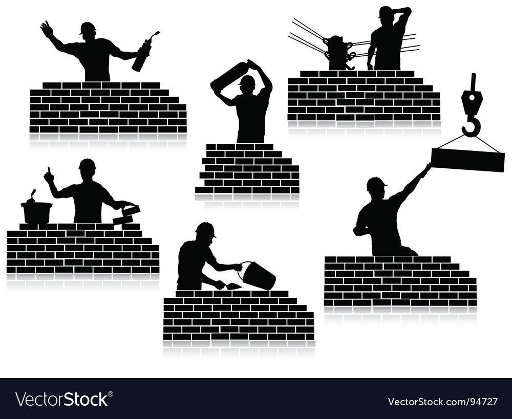 Workers silhouettes closeup vector
