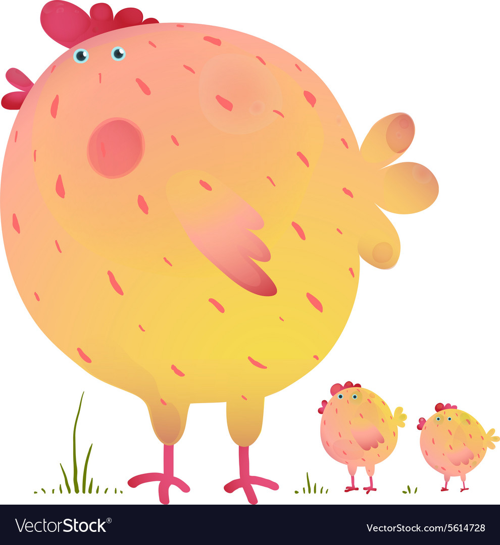 Fun colorful mother chicken bird and babies vector