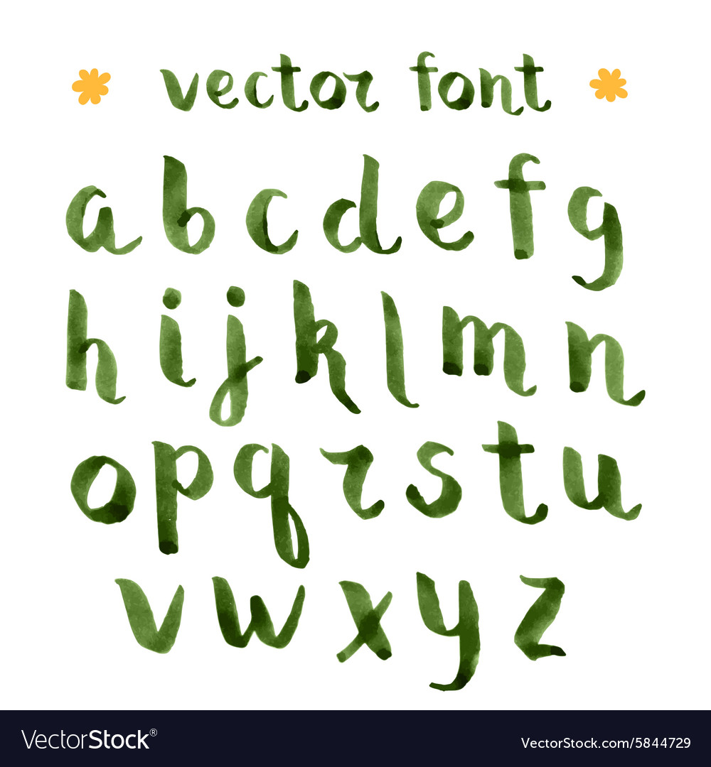 Handmade ink green alphabet vector