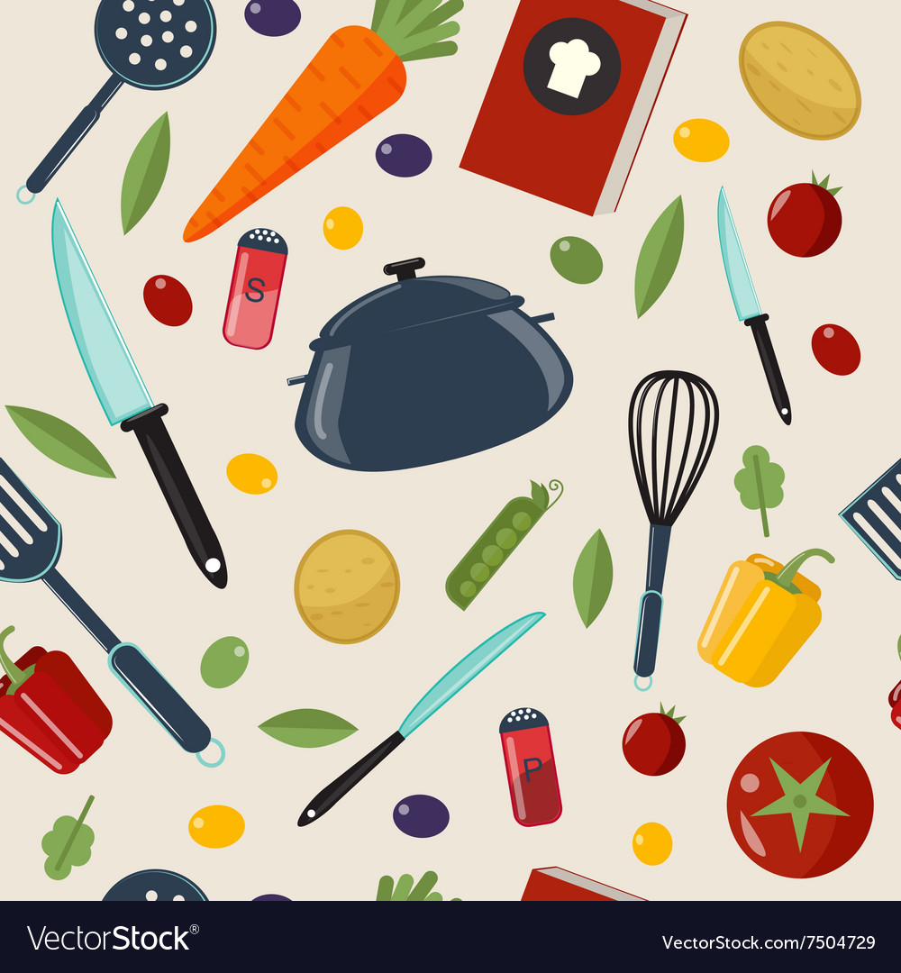 Kitchen healthy cooking seamless pattern vector