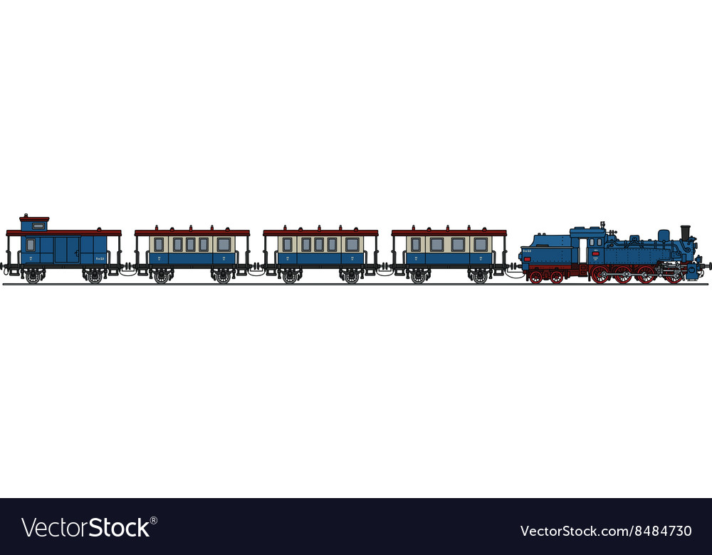 Classic blue steam train vector