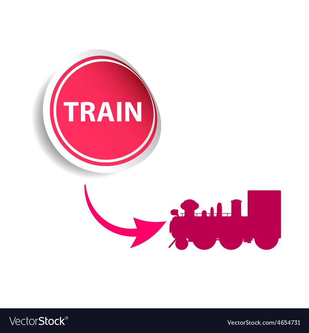 Sticker train pink vector