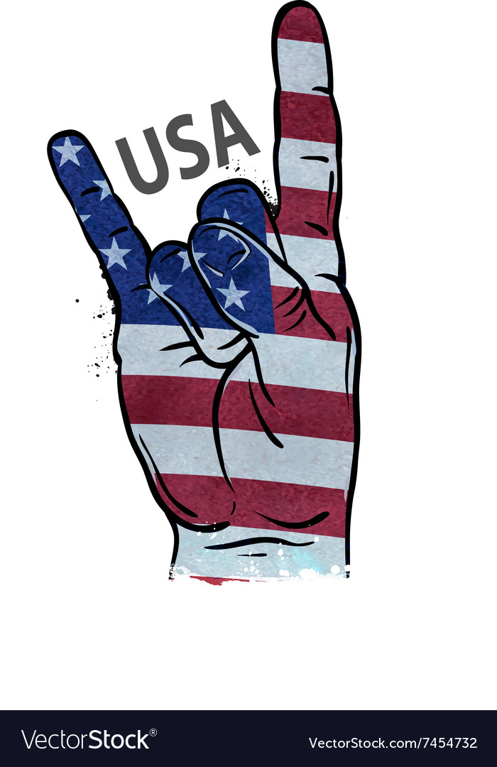 Hand gesture cool rock and roll flag of usa vector