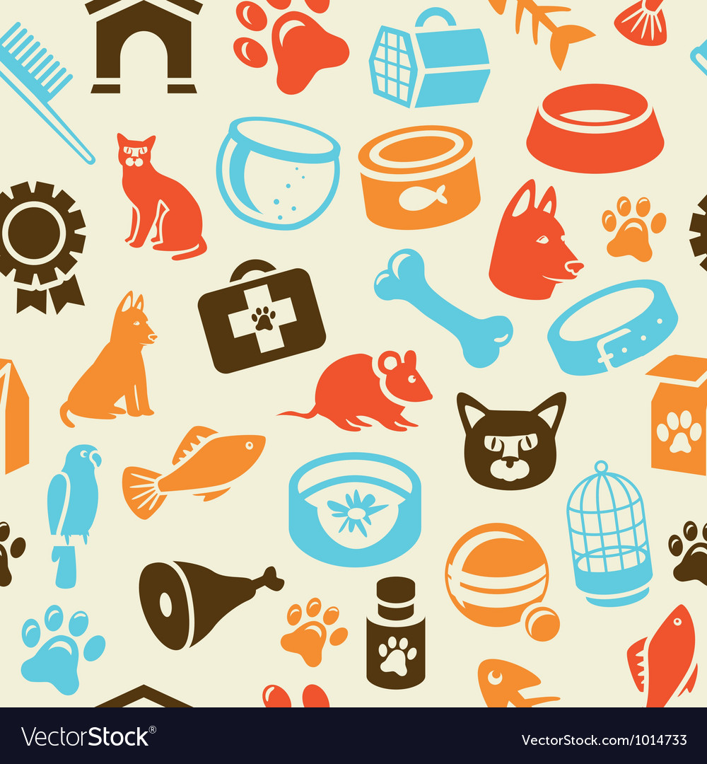 Pattern with funny cat and dog icons vector