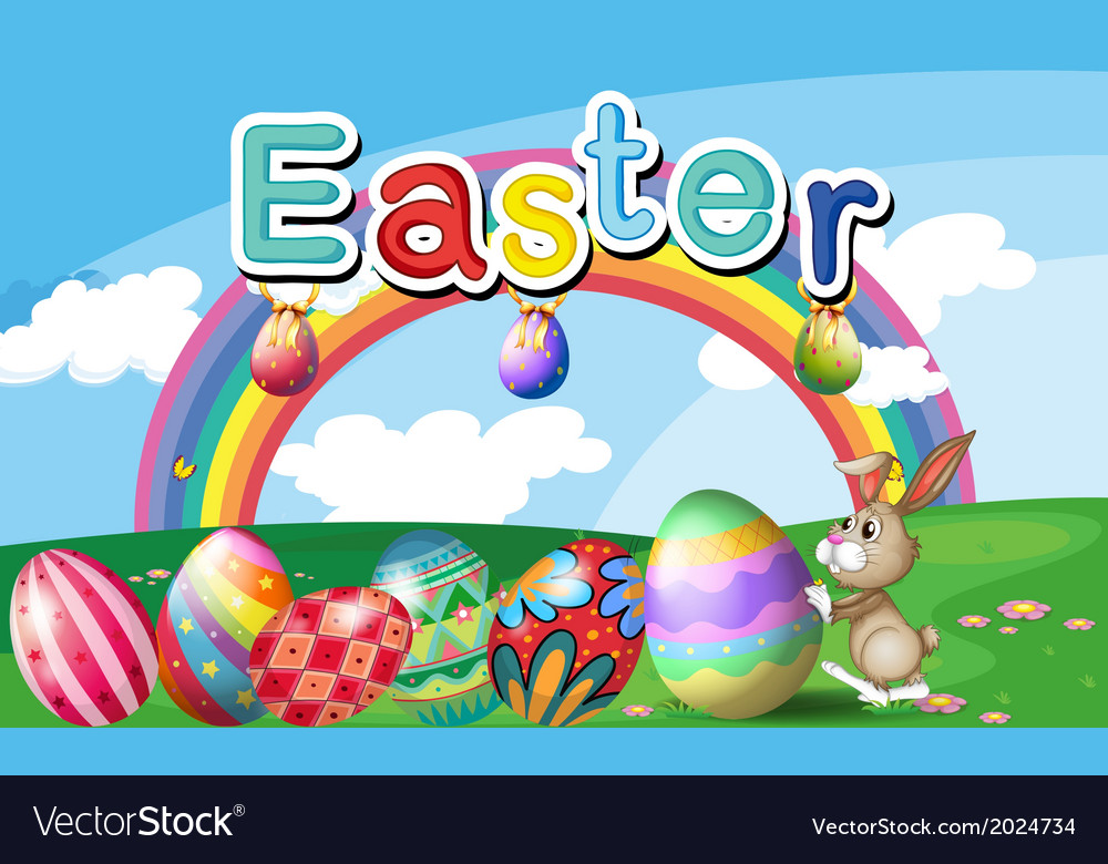 A hilltop with easter eggs a rainbow and a bunny vector