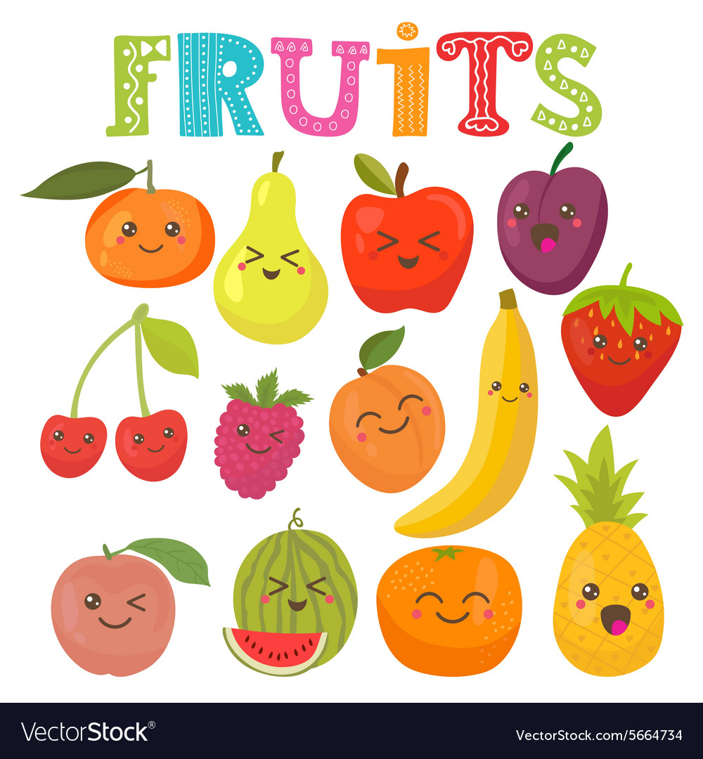 Cute kawaii smiling fruits healthy style vector