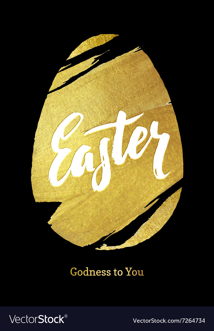 Gold foil happy easter greeting egg card vector