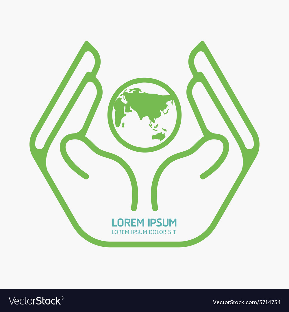 Hand holding world logo design safety care vector