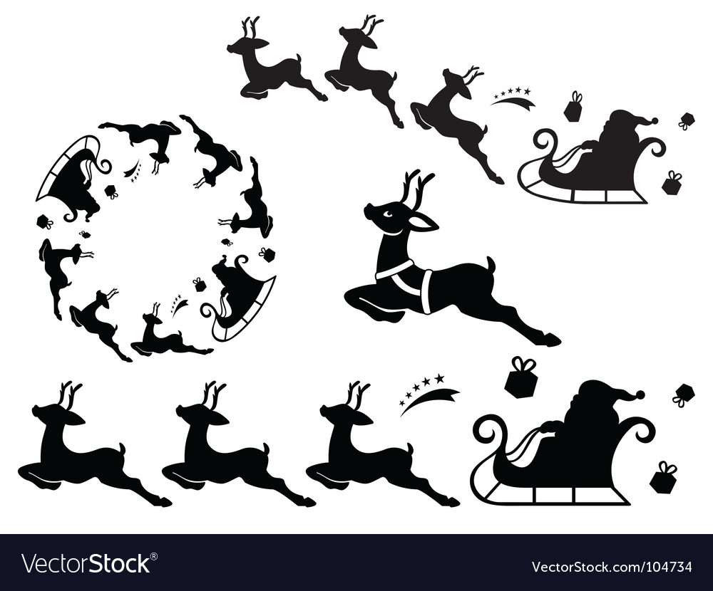 Santa sleigh ornament vector