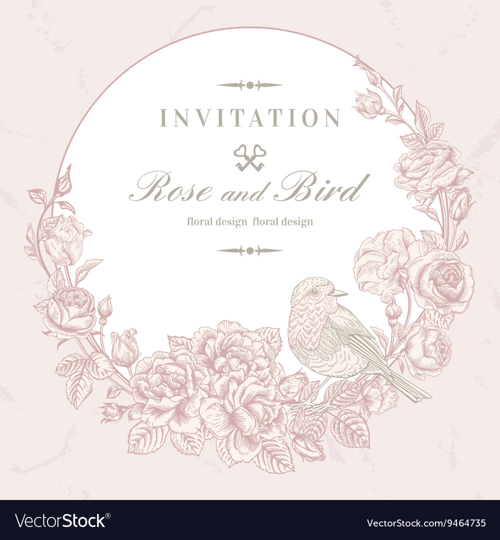 Beautiful frame with roses and bird vector