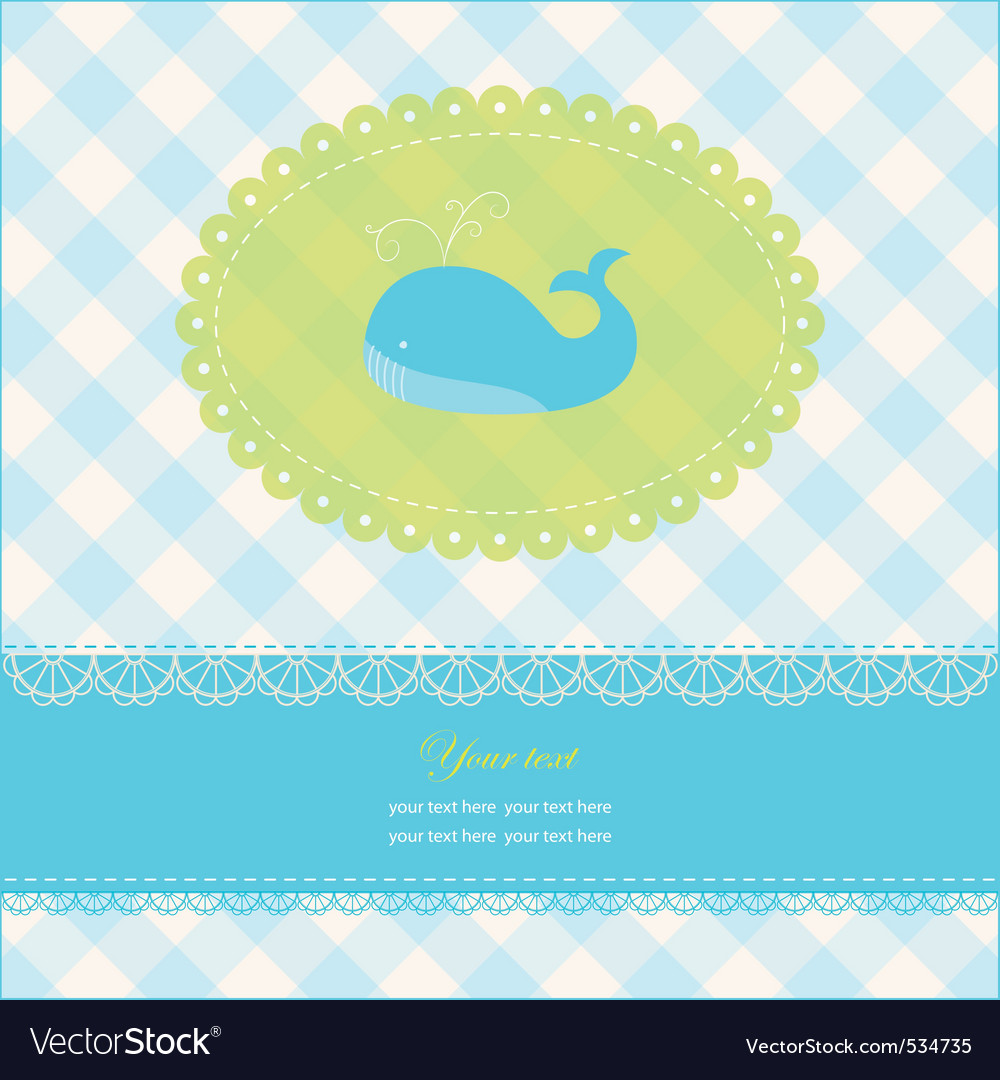 Greeting card with blue whale vector