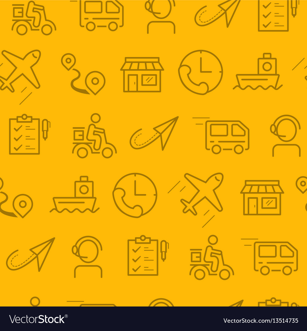 Line style icons seamless pattern icons delivery vector