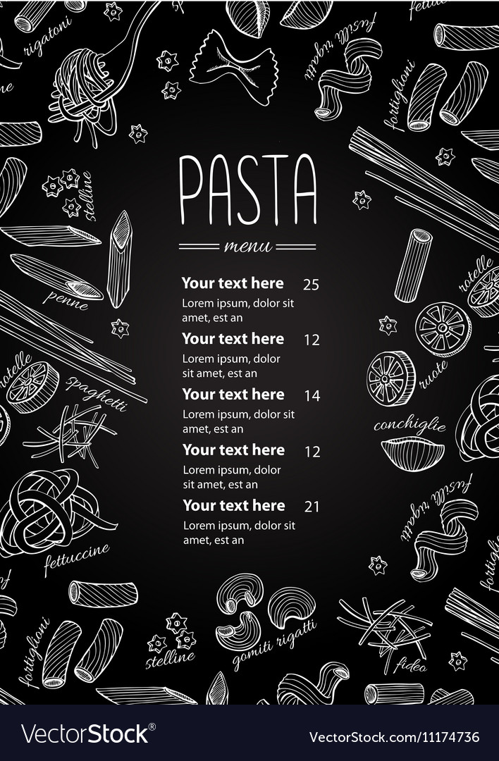 Hand drawn blackboard pasta menu vector