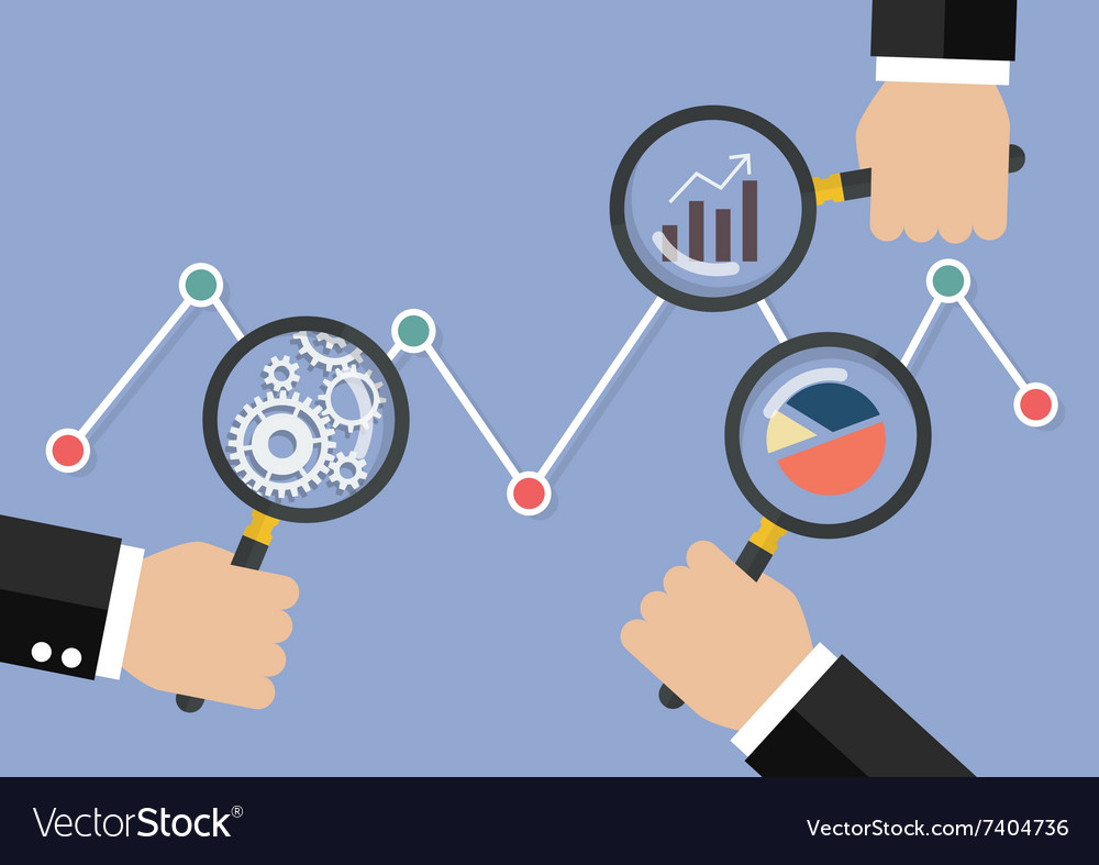 Hands holding magnifying glass for data analysis vector