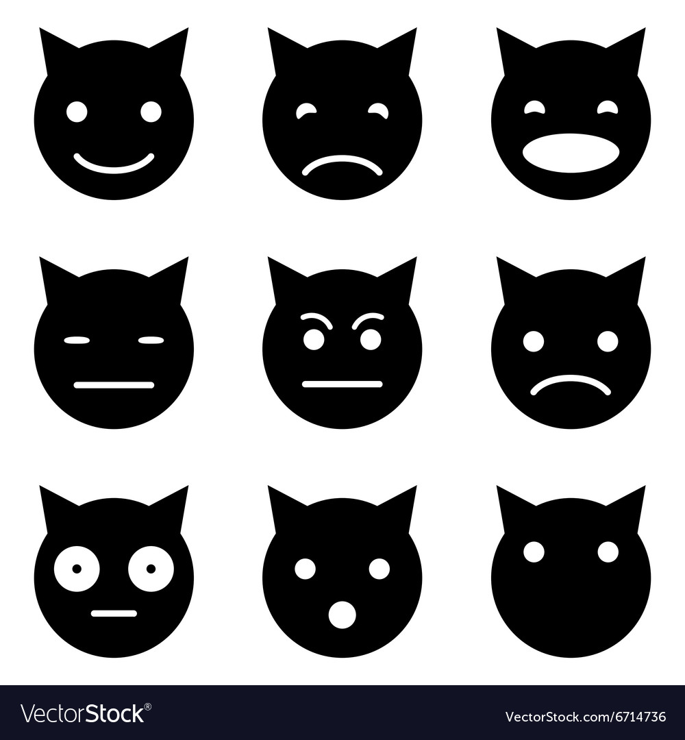 Kitten faces emotional vector