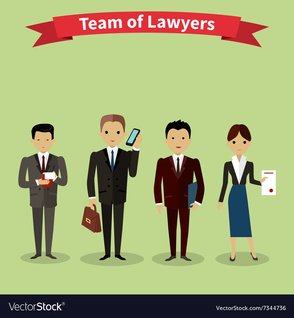 Lawyers team people group flat style vector