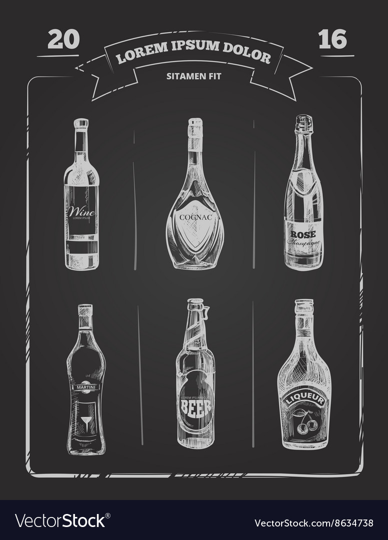 Drinks menu on chalkboard in hand drawn style vector