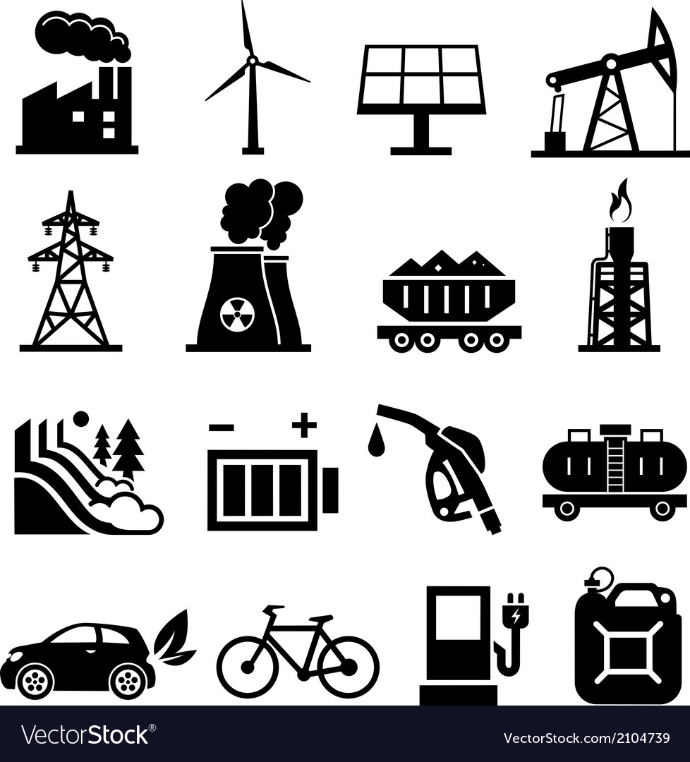 Energy icons black vector