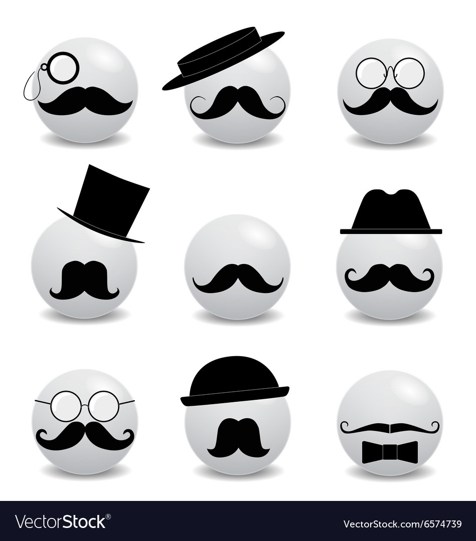 Hipster white smilies with mustache vector