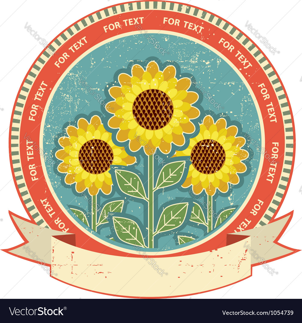 Sunflowers symbol on old paper texturevintage vector