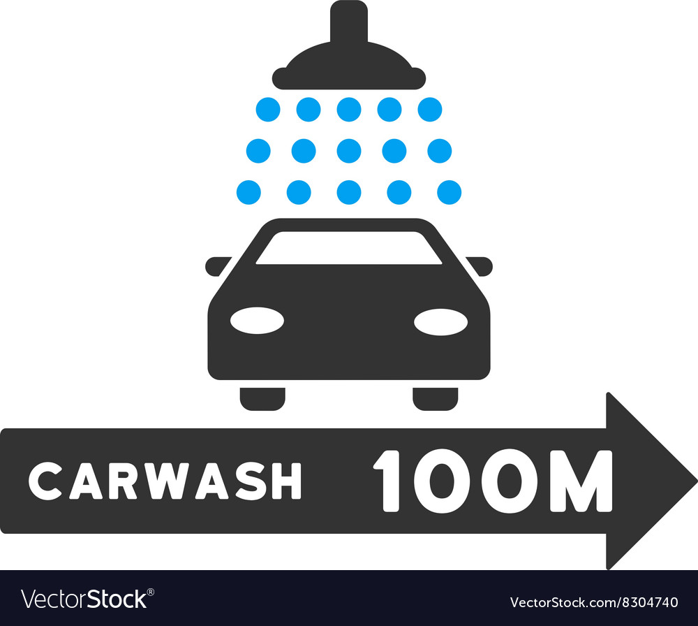 Carwash right direction flat vector