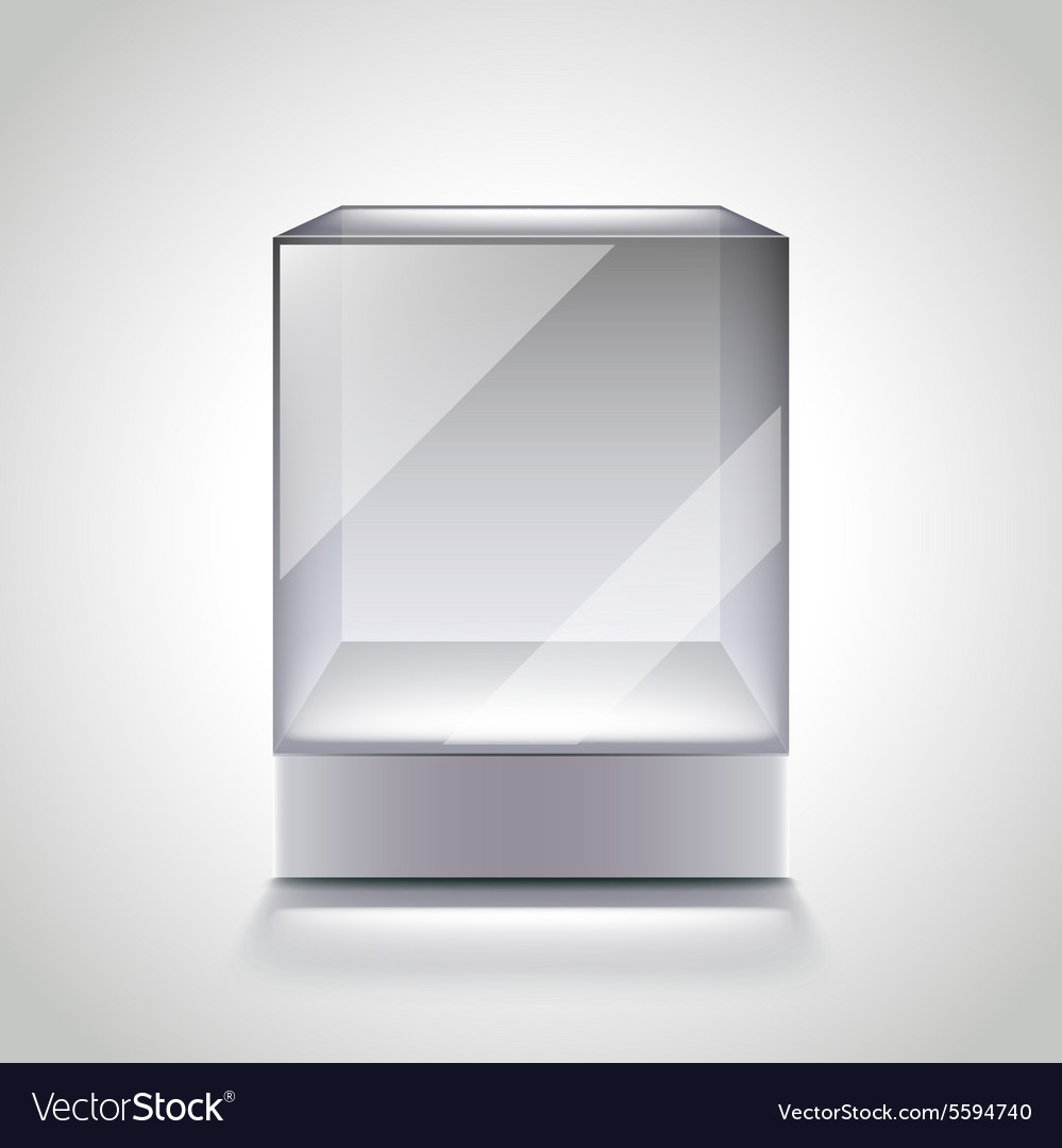 Empty glass cube showcase for exhibition vector