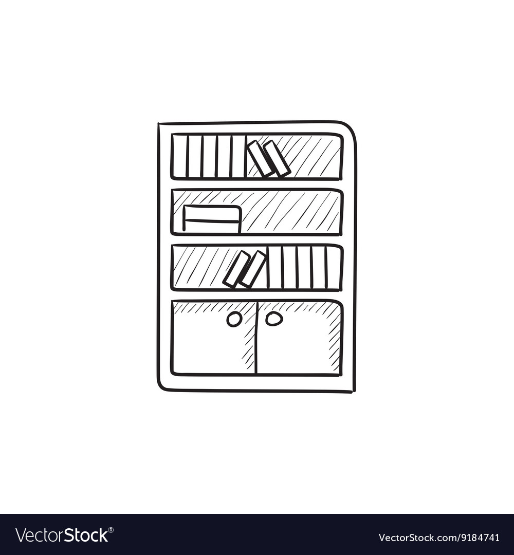 Bookcase sketch icon vector