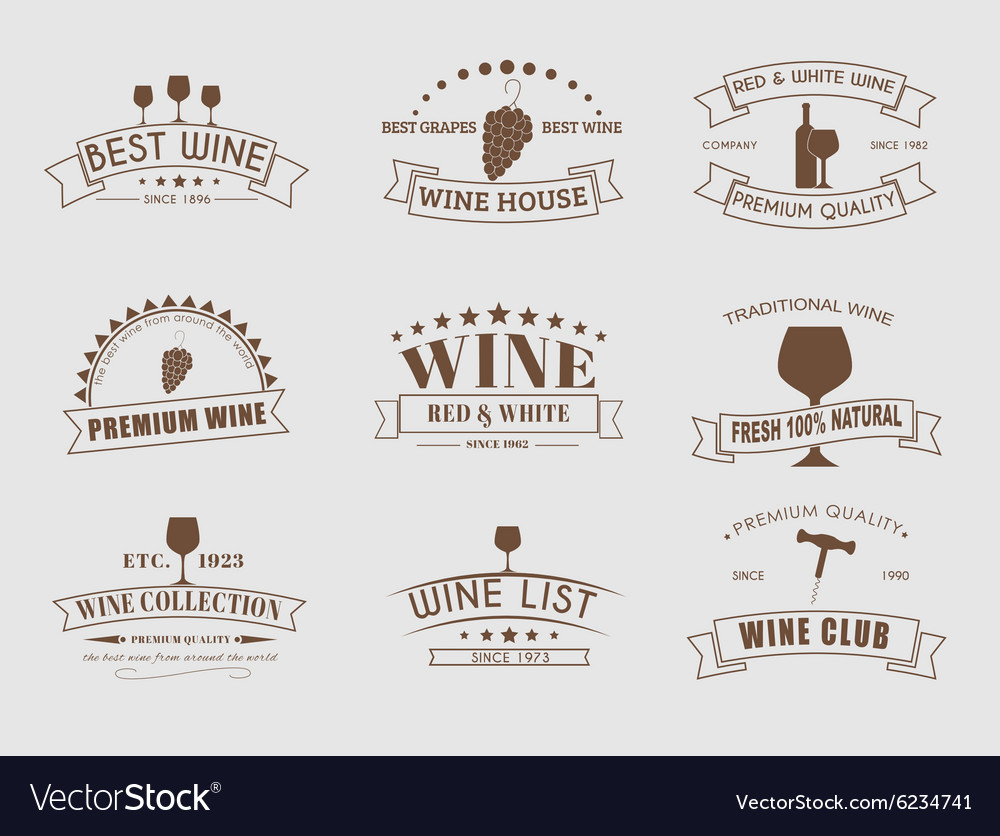 Set of wine logos with ribbons vector