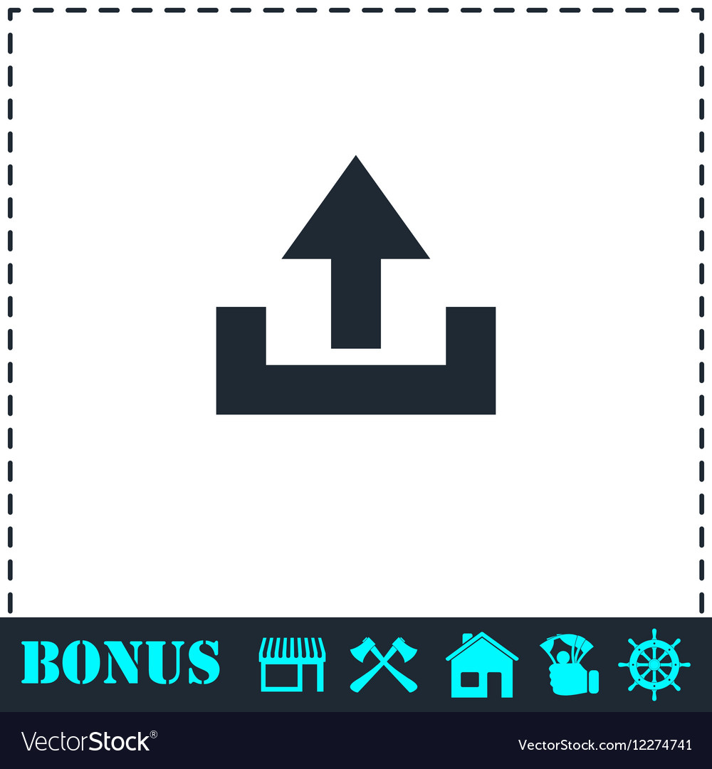 Upload icon flat vector