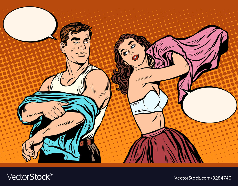 Morning man and woman dress up underwear vector