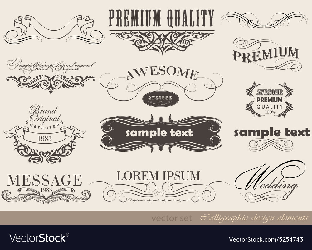 Set calligraphic vector